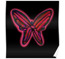 Red neon butterfly  Poster