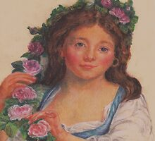 """Young Girl""  from painting by Elisabeth Vigee LeBrun by Pam Humbargar"