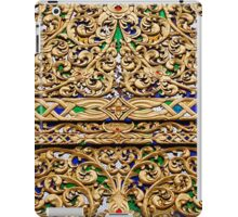 Antique,old,vintage,floral,wood design with gold paint,digital photo iPad Case/Skin