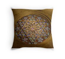 Round Stained Window Glass In Cathedral Throw Pillow