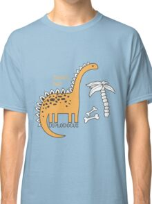 Dinosaurs, Jurassic Park. Adorable seamless pattern with funny dinosaurs in cartoon Classic T-Shirt