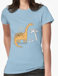 Dinosaurs, Jurassic Park. Adorable seamless pattern with funny dinosaurs in cartoon Womens Fitted T-Shirt