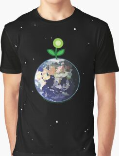 Green Flower Sprouting On Spaceship Earth Graphic T-Shirt