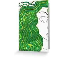 Green-Haired Girl Greeting Card