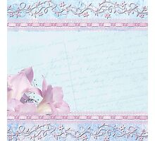 Baby blue,lace,silk,orchid,collage,mixed media,love letter,shabby chic,romantic,soft,mellow touch Photographic Print
