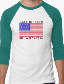 Gary Johnson - Bill Weld 2016 Patriotic Flag Men's Baseball ¾ T-Shirt