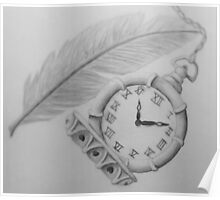 Clock & Feather Sketch Poster