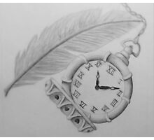 Clock & Feather Sketch Photographic Print