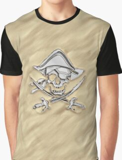 Chrome Pirate Crossbones in Sand Graphic T-Shirt