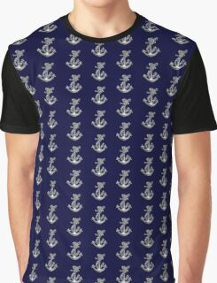 Chrome Style Nautical Rope Anchor Applique Graphic T-Shirt