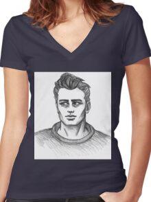 James Dean Inspired Art Women's Fitted V-Neck T-Shirt