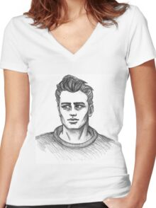 James Dean Inspired Art Women's Fitted V-Neck T-Shirt