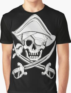 Chrome Nautical Pirate Crossbones Graphic T-Shirt