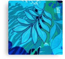 Blue Leaves Abstract Canvas Print