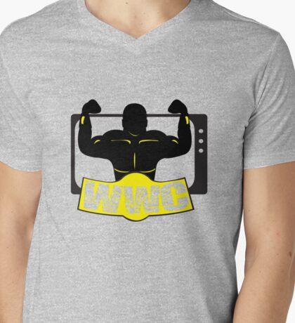 WWC Clean Logo Yellow/Black Mens V-Neck T-Shirt