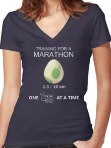 Training for a Marathon Women's Fitted V-Neck T-Shirt