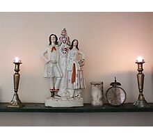 Still Life with Candles & Clock Photographic Print