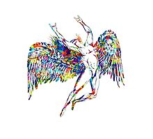 ICARUS THROWS THE HORNS - paint splotches NEW DESIGN Photographic Print