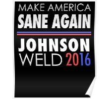 Gary Johnson Weld 2016 | Make America Sane Again Poster