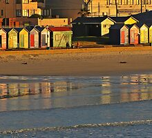 Beach huts at sunrise by Lee Jones