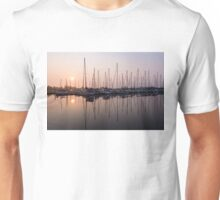 Shimmering Pinks - Silky Sunrise With Yachts Unisex T-Shirt