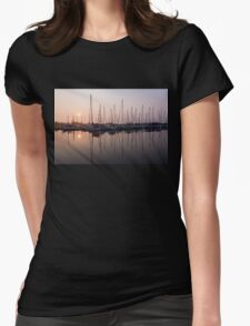 Shimmering Pinks - Silky Sunrise With Yachts Womens Fitted T-Shirt