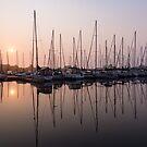 Shimmering Pinks - Silky Sunrise With Yachts by Georgia Mizuleva