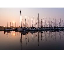Shimmering Pinks - Silky Sunrise With Yachts Photographic Print