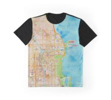 Chicago city center map oily water color Graphic T-Shirt