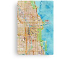 Chicago city center map oily water color Canvas Print