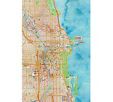 Chicago city center map oily water color Photographic Print