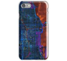 Chicago city center dark watercolor map iPhone Case/Skin