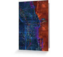 Chicago city center dark watercolor map Greeting Card