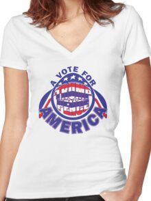 A VOTE FOR AMERICA Women's Fitted V-Neck T-Shirt