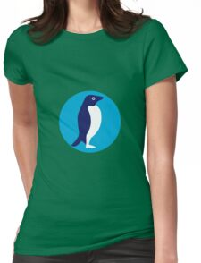 Adelie Penguin Circle Retro Womens Fitted T-Shirt