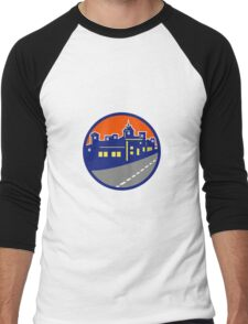 Buildings Street Cityscape Circle Retro Men's Baseball ¾ T-Shirt