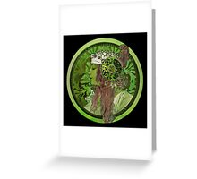 Nouveau Woman In Green Headdress and Jewels Greeting Card