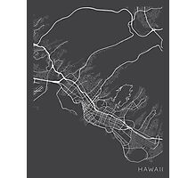 Honolulu Map, USA - Gray Photographic Print