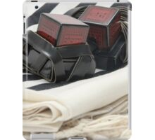 Cutout of Tifillin and Talit on white background iPad Case/Skin