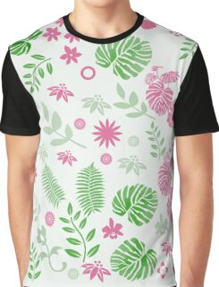 Tropical leaves and berries in Green and Pink,  #redbubble, #abstract, #pattern, #floral Graphic T-Shirt