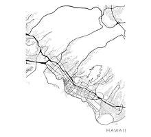 Honolulu Map, USA - Black and White Photographic Print