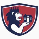 King Lion Holding House Crest Retro by patrimonio