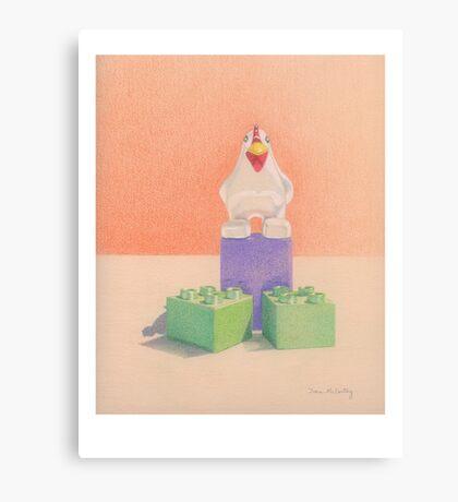 Duplo Chicken (orange/purple) Canvas Print