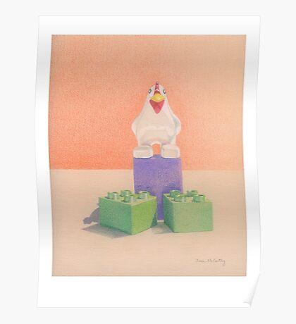 Duplo Chicken (orange/purple) Poster