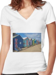 Brighton Huts - Melbourne Women's Fitted V-Neck T-Shirt