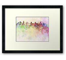 Sao Paulo skyline in watercolor background Framed Print