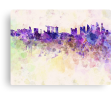 Singapore skyline in watercolor background Canvas Print