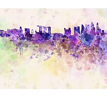 Singapore skyline in watercolor background Photographic Print