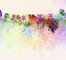Rio de Janeiro skyline in watercolor background by paulrommer