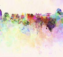 Rio de Janeiro skyline in watercolor background by paulrommer